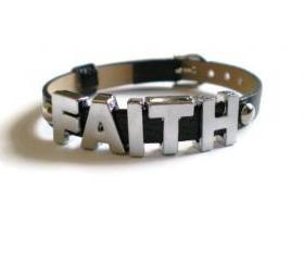 Black FAITH Studded Leather Bracelet - 5mm Round Silver Studs - 8 mm Adjustable Wristband