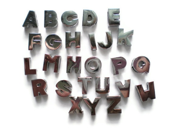 Pick 2 Slide Charm Alphabet Letters - Personalize - Fit 8mm Bracelet/Wristband