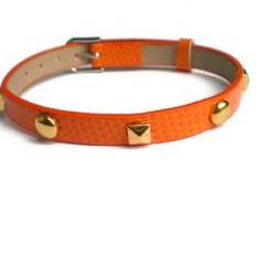Studded Orange Leather Bracelet - Pyramid and Round Studs - 8mm Bracelet - Adjustable