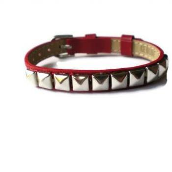 Red Genuine Leather Bracelet - Silver Pyramid Studs - 8mm Red Leather Strap - Adjustable