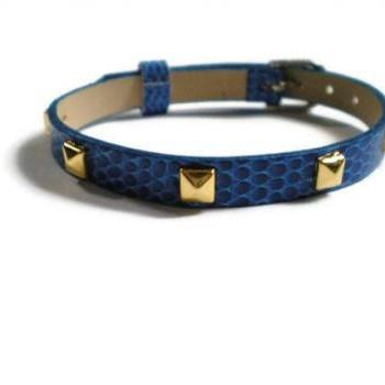 Studded Royal Blue 8mm Leather Bracelet - Gold Pyramid Studs