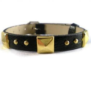 Black Leather Bracelet With Gold Pyramid Studs - 10mm Strap - Black Buckle Bracelet